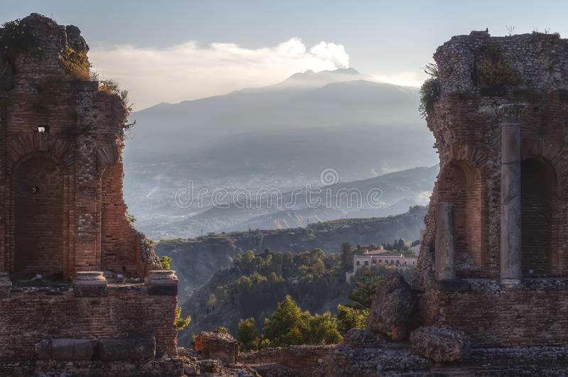Greek Theatre and Mount Etna, Taormina royalty free stock photography