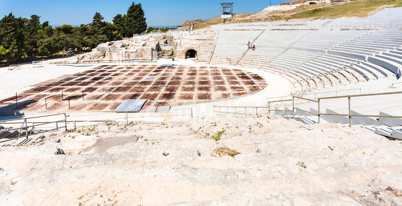 Greek theatre in Syracuse city in Sicily stock image
