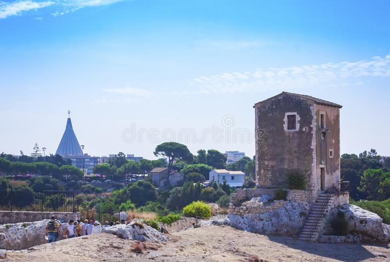 Greek Theatre of Syracuse, ruins of ancient monument, Sicily, Italy royalty free stock photography