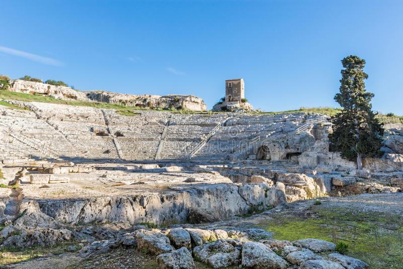 Greek Theatre of Syracuse Sicily stock photo