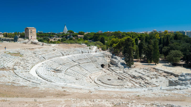 The greek theatre of Syracuse (Sicily) stock photos