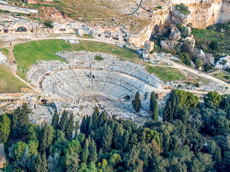 Greek Theatre of Syracuse Sicily stock photography
