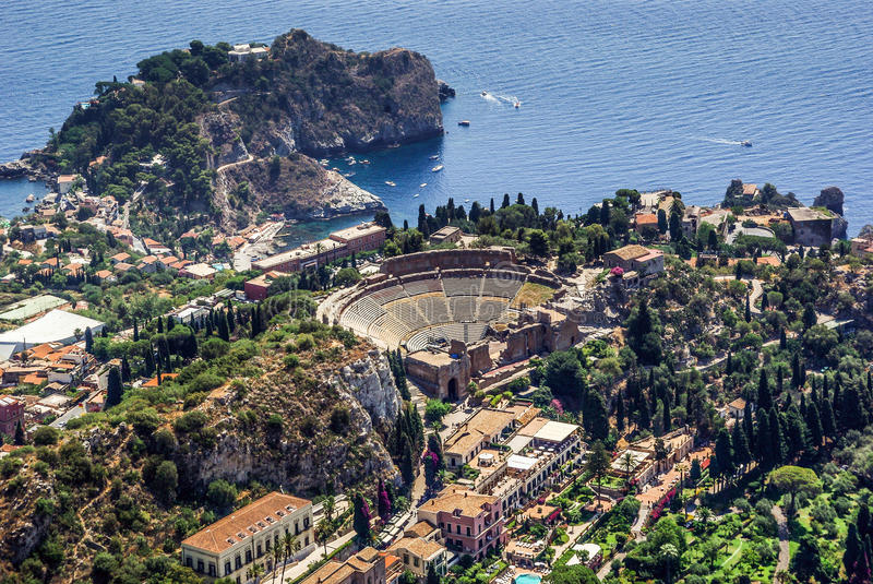 Greek Theatre of Taormina Sicily royalty free stock images