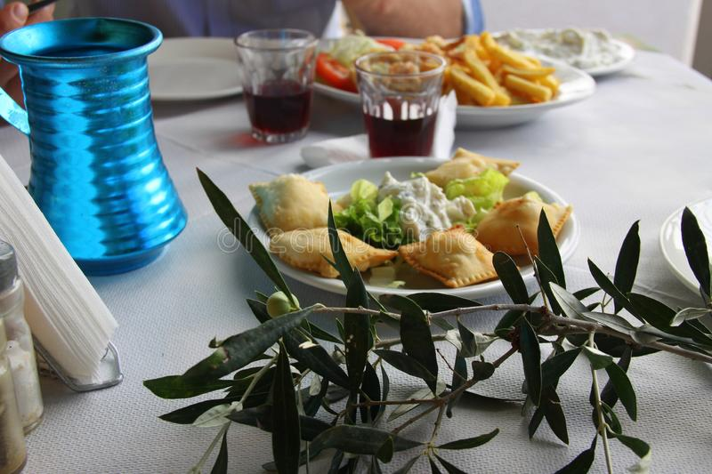 Greek lunch with olives stock photo