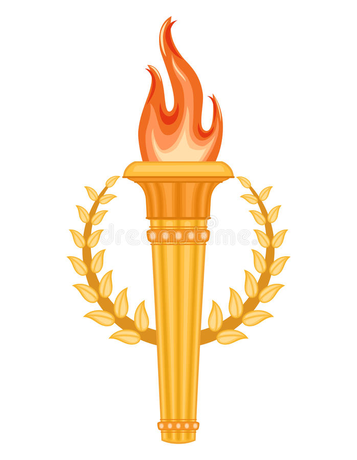 Download Greek Torch With Crown Of Laurels Stock Vector - Image: 24583097