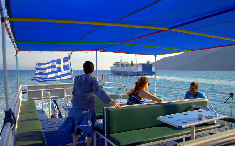 Greek tour boat deck royalty free stock image