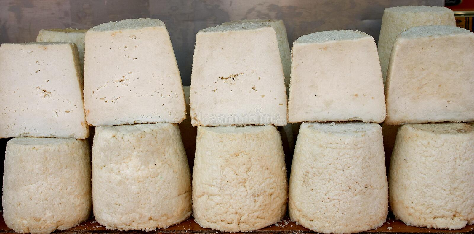Greek traditional cheeses stock images