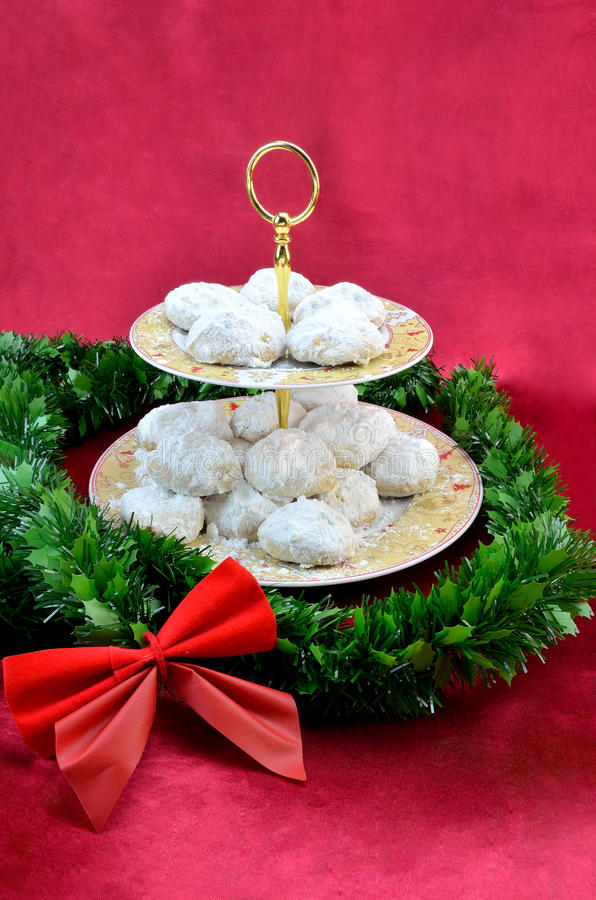 Greek Christmas butter cookies, kourabiedes royalty free stock photography