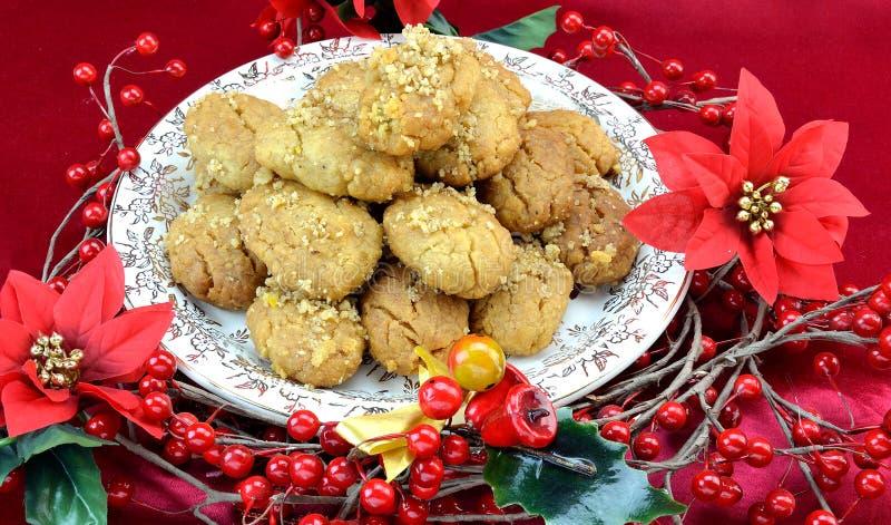 Greek Christmas honey-dipped walnut spice cookies, melomakarona stock image