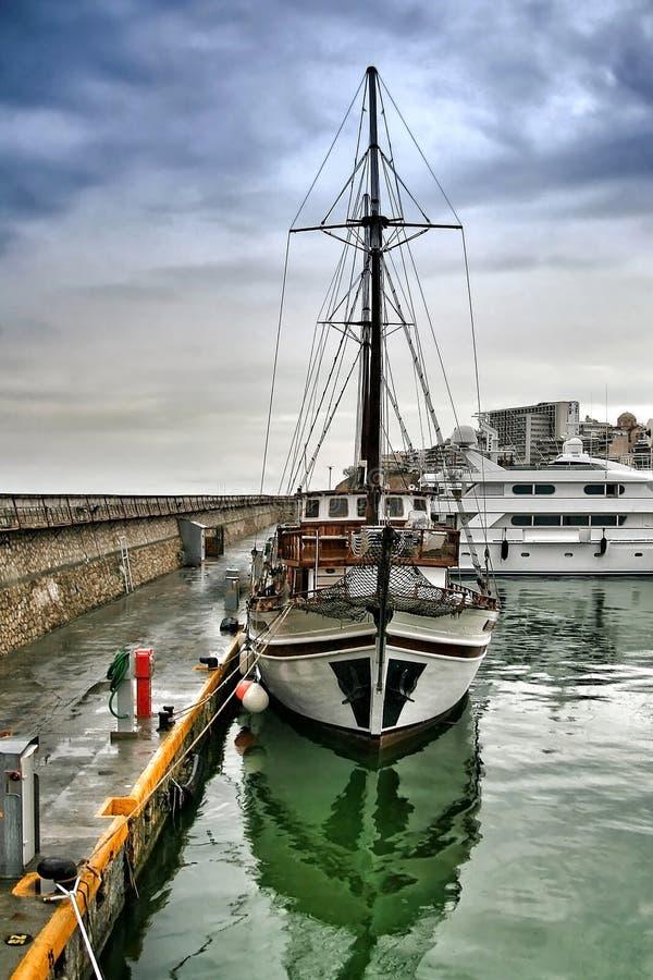 Greek traditional wooden cruise hull at marina Zeas,Piraeus Greece stock photos