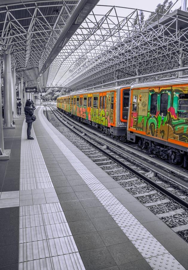 Greek train station royalty free stock photo