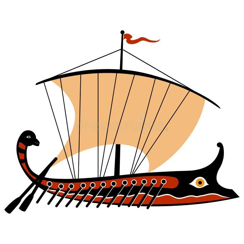 Greek trireme. Stylized illustration of an ancient Greek ship vector illustration