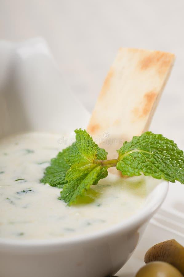 Greek Tzatziki yogurt dip and pita bread. Fresh Greek Tzatziki yogurt dip and pita bread and pickels royalty free stock images