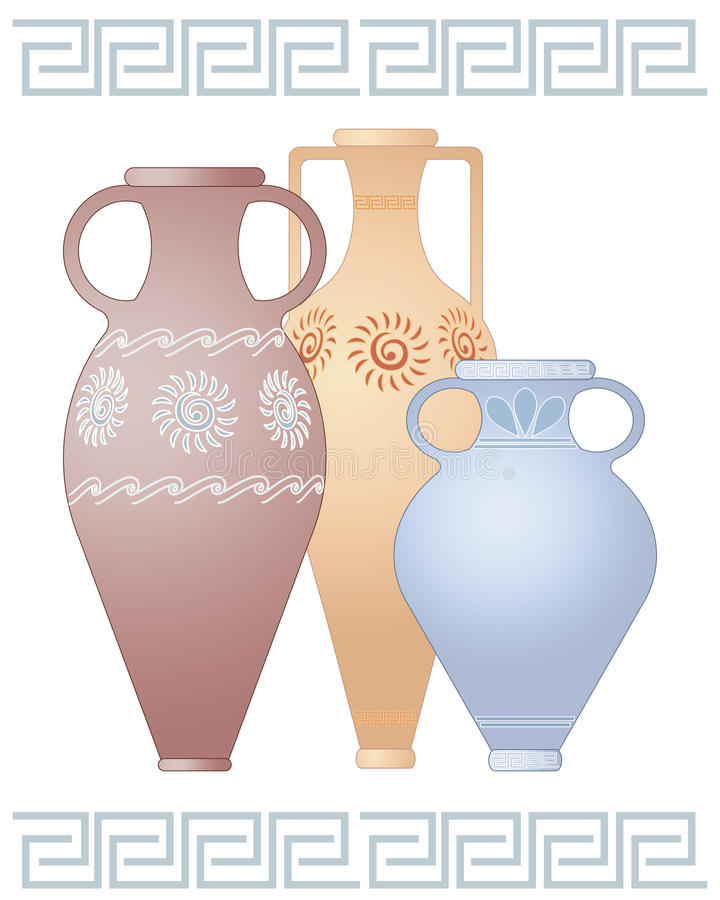 Greek urns. An illustration of three decorative greek urns in different shapes and colors with designs isolated on a white background with space for text stock illustration