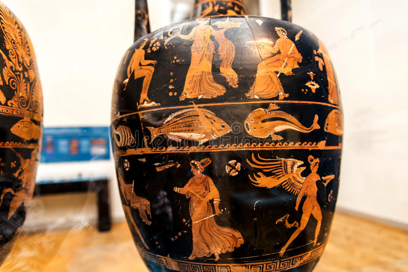 Greek Vase in Museum in Berlin Germany. The Capital city of Berlin is a vibrant city filled with cultural activities such as museums and galleries on an around stock images