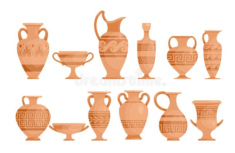 Greek vases flat vector illustrations set. Ceramic antique amphora with patterns collection. Ancient Greece potter with. Ornament isolated design elements pack royalty free illustration
