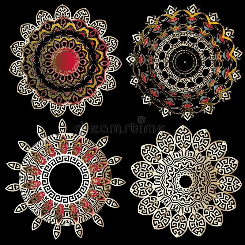 Greek vector floral round mandalas patterns set. Beautiful greek key meanders lace ornament. Ethnic style colorful floral ornament stock illustration