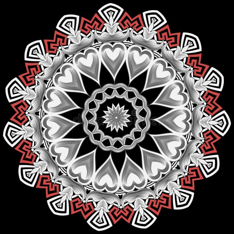 Greek vector mandala pattern. Tribal black white red floral background. Ancient ethnic greek key meanders ornament. Geometric shapes, round frames, love hearts vector illustration
