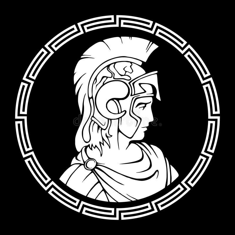 Greek round antique pattern. Alexander the Great Macedonian. stock illustration