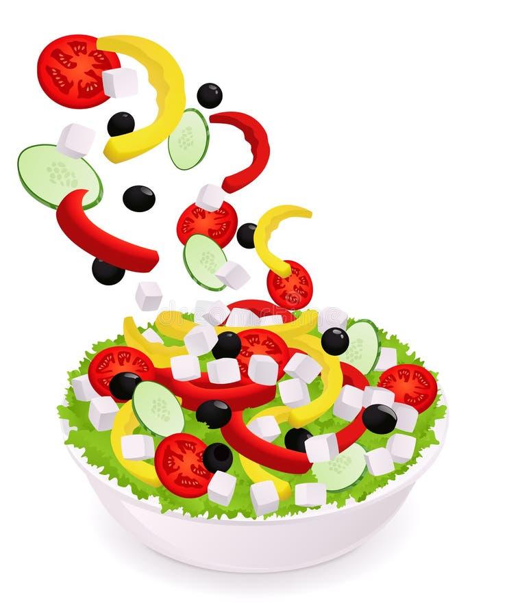 Greek Vegetable Salad. Falling Ingredients Royalty Free Stock Image