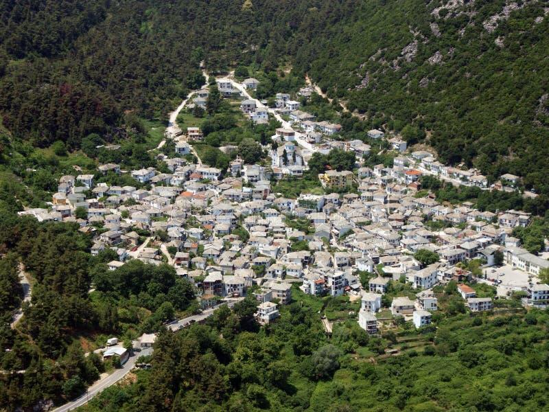 Greek village aerial. stock photos