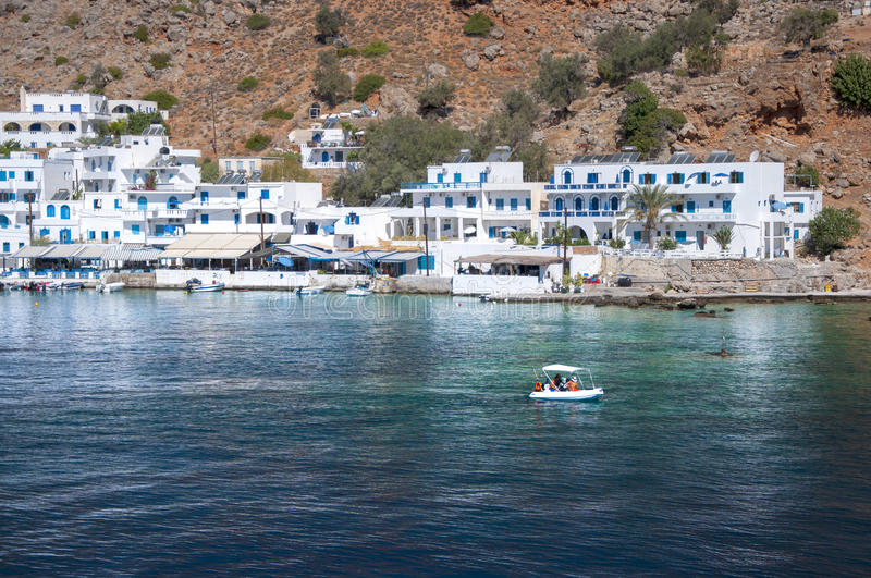 Greek village Loutro royalty free stock images