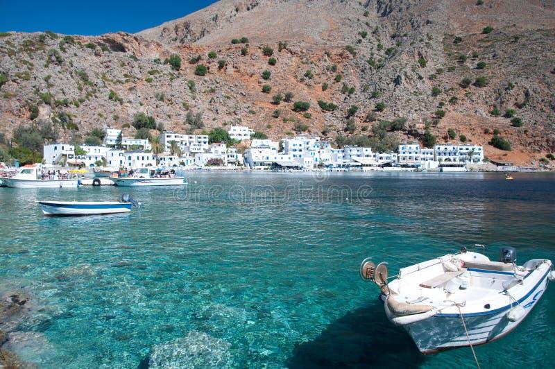 Greek village Loutro stock photos