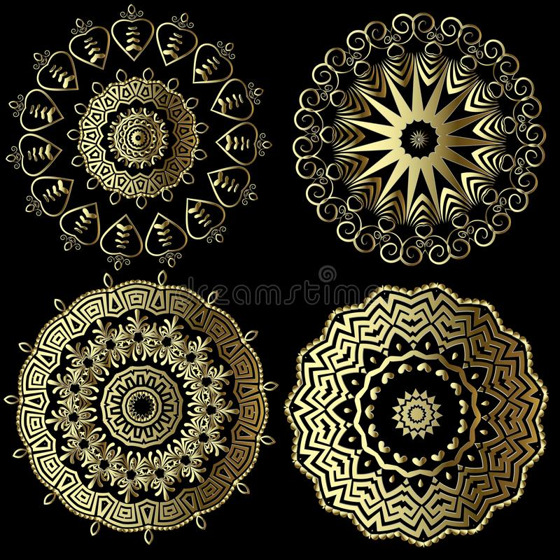 Greek vintage vector round mandala patterns set. Floral ornate background. Geometric greek key meander ancient ornaments. Flowers stock illustration