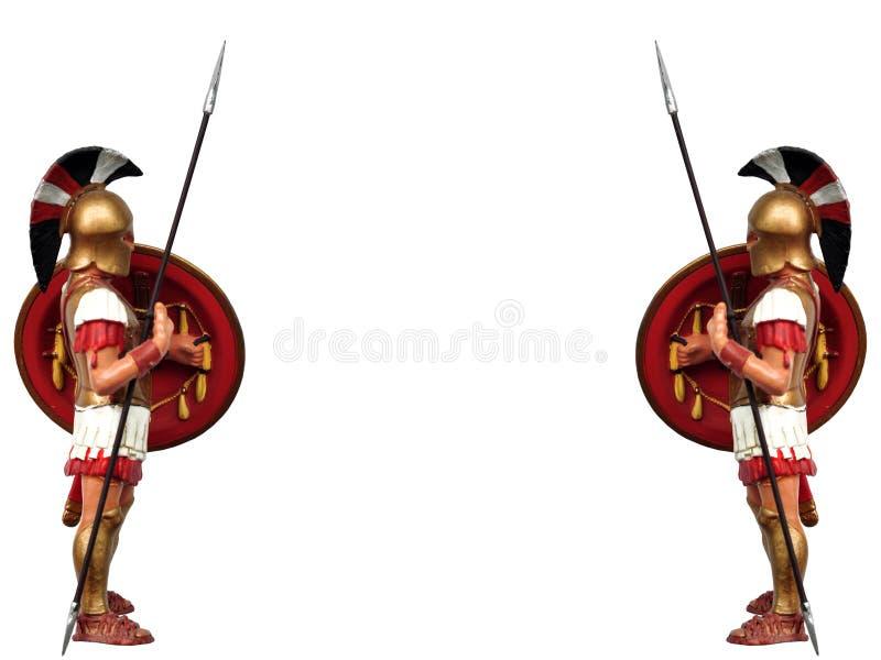 Greek warrior. Ancient greek warrior figure isolated side view vector illustration