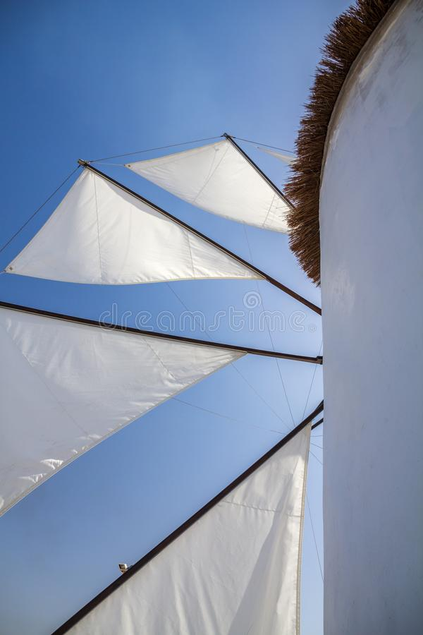 Free Greek Windmill Sails Against Azure Blue Sky Stock Photography - 103901772