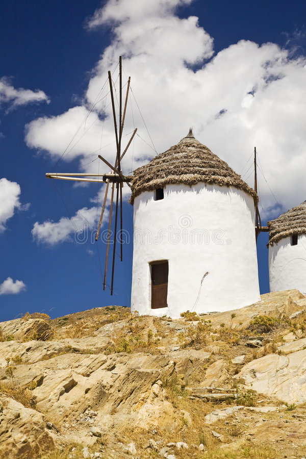 Greek Windmills, Cyclades, Greece stock image