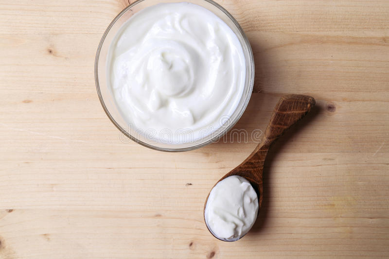 Greek yoghurt. On the table royalty free stock photos
