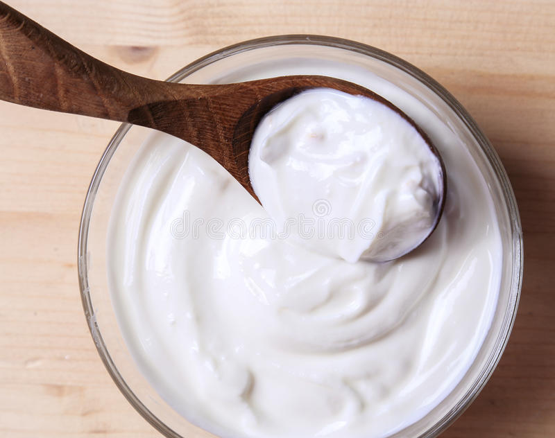 Greek yoghurt. On the table stock photos