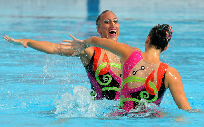 Greeks synchro swimmers. Despoina Solomou and Neftaria Ramnioti in a Duet exercise during the Espana Sincro meeting in Barcelona Picornell Swimpool, June 18 stock photos