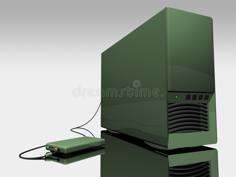Green 3d computer tower.  stock illustration