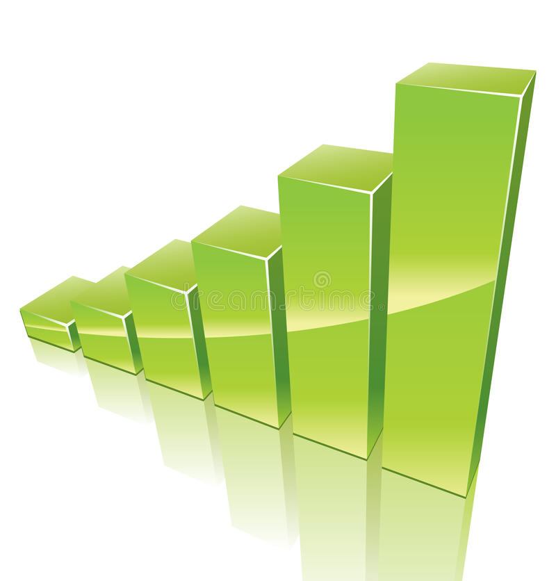 Green 3d graph growing up stock illustration