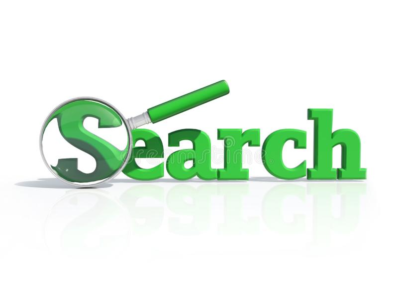 Green 3D search icon royalty free stock photos