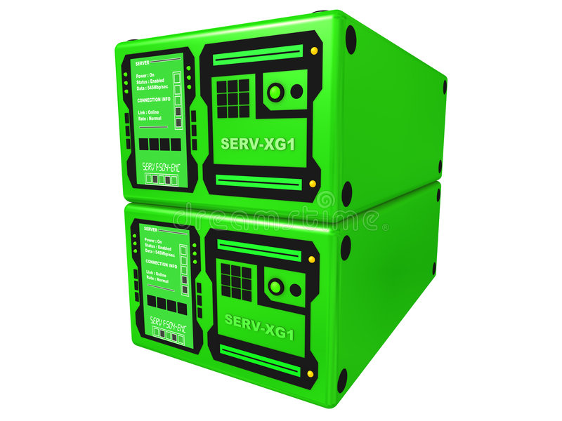 Green 3d server #2 royalty free stock photo