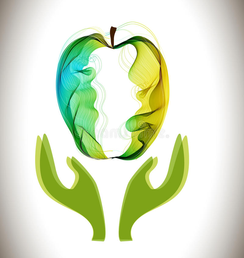 Download Green Abstract Apple And Hands Stock Vector - Image: 39358390