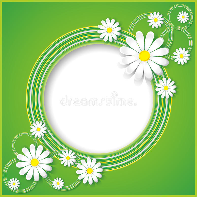 Green abstract background with flowers chamomiles. Creative abstract spring background with flowers chamomiles. Floral frame. Vector illustration stock illustration