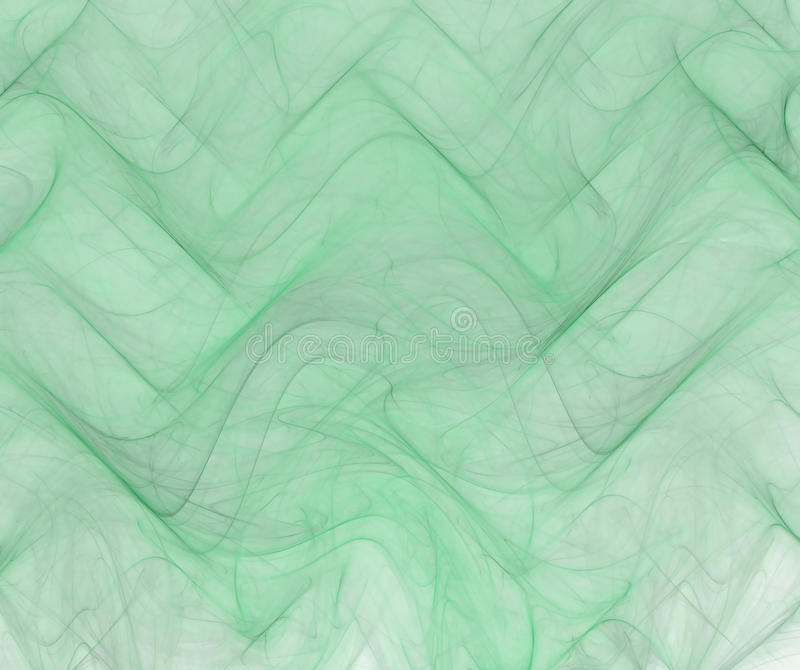 Green abstract background with thin fabric or smoke texture. Turquoise ordered fractal waves pattern, with light corner. royalty free illustration