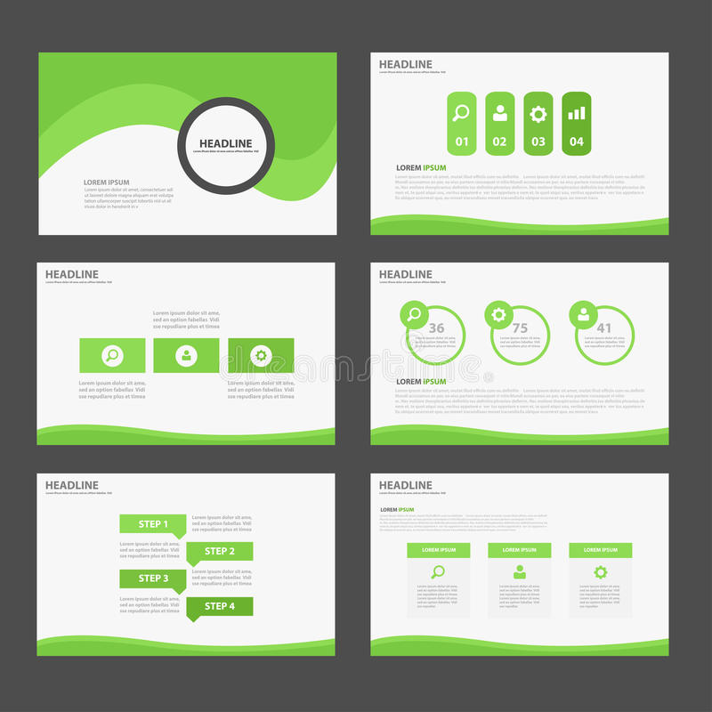 Green Abstract Brochure report flyer magazine presentation element template a4 size set for advertising marketing website royalty free illustration