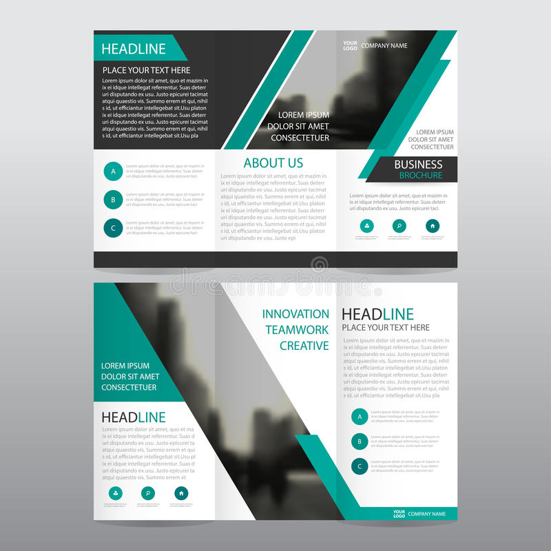 Green abstract business trifold Leaflet Brochure Flyer report template vector minimal flat design set. Abstract three fold presentation layout templates a4 vector illustration