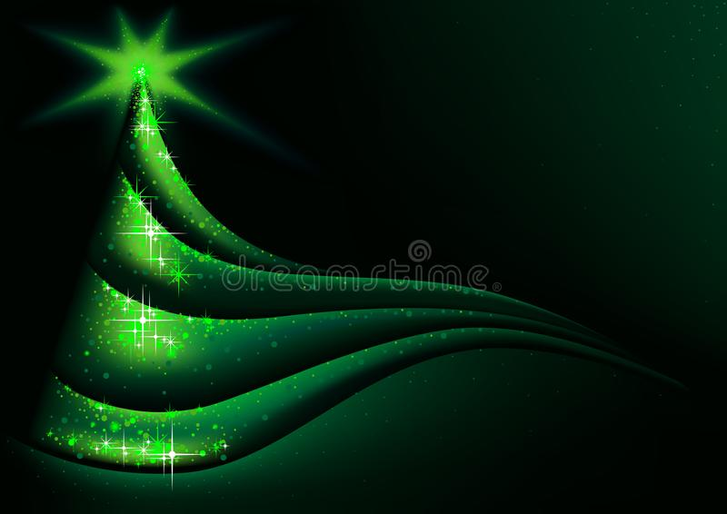 Green Abstract Christmas Tree Background stock illustration