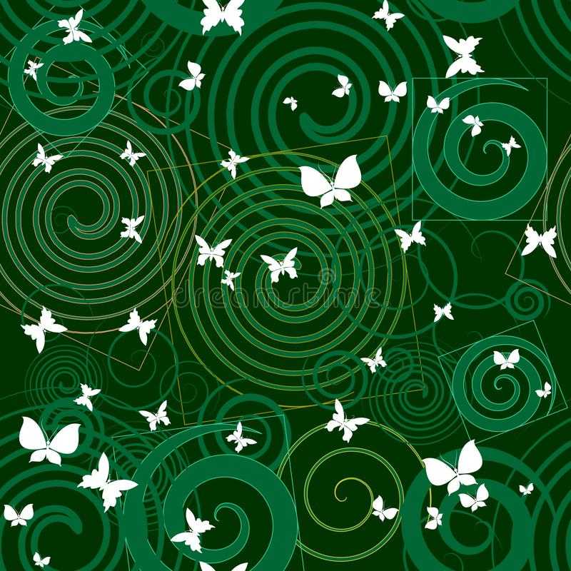 Green abstract decorative seamless pattern. Geometric vector background with circles, lines, spirals, squares, butterflies. vector illustration