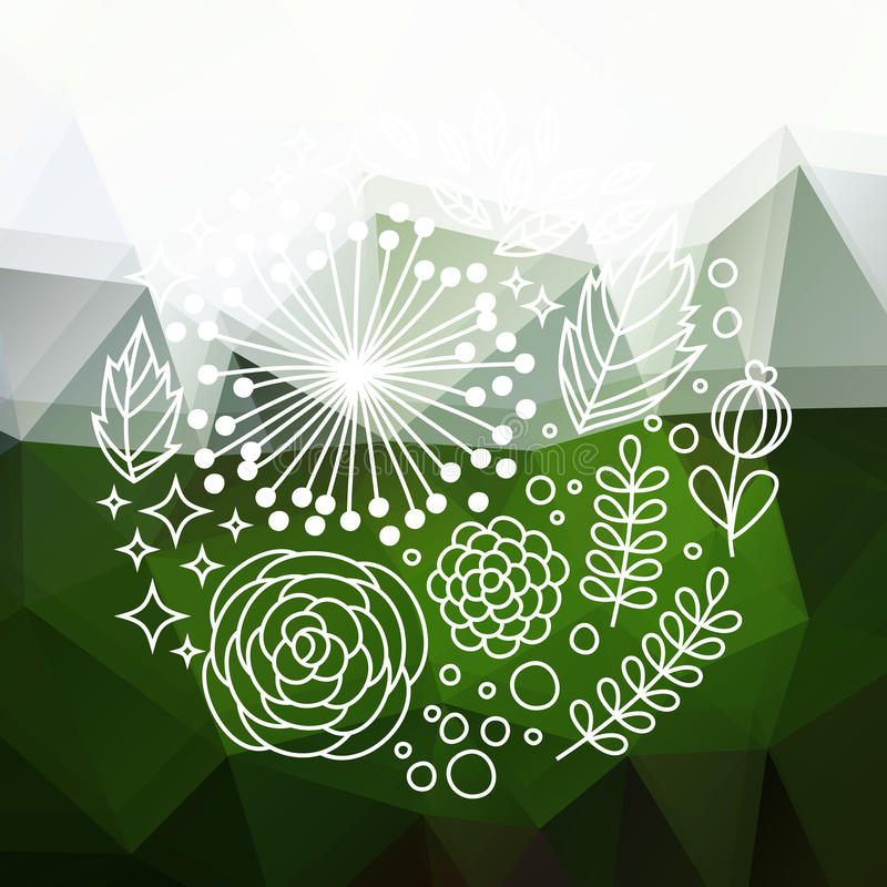 Green abstract floral background vector illustration