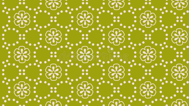 Green abstract flower dot vector seamless pattern royalty free illustration