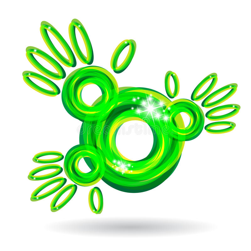 Green abstract hands icon stock illustration