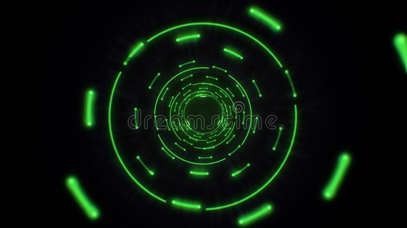 Green abstract light circles seamless looping. Animation of an abstract background tunnel loop with shiny light circles. Futuristic illumination neon space vector illustration