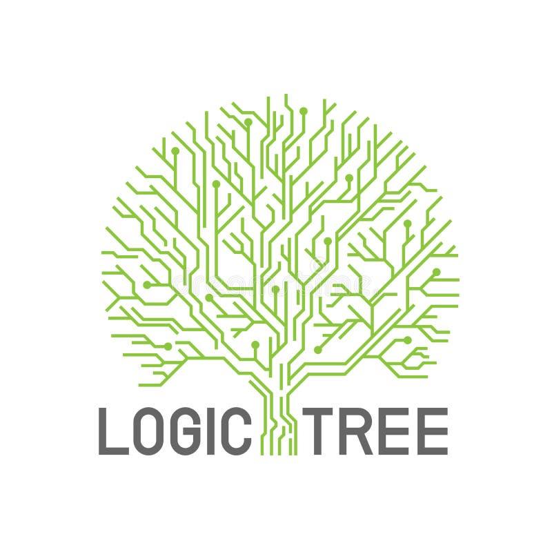 Green abstract line eletric logic tree sign logo vector creative design stock illustration